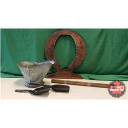 Antique Collector Starter Kit : Coal Skuttle w/2 Shovels, & Dresser Mirror Frame