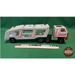 Tonka Red & White Truck w/Double Deck Car Hauler