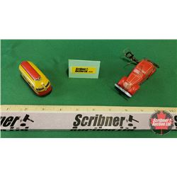 """""""Made in U.S. Zone Germany"""" Tin Toys (2) (Note: one wheel missing)"""