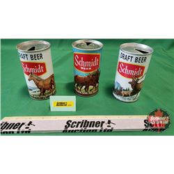 """Schmidt Draft Beer Can Trio """"The Brew that Grew with the Great Northwest"""" : Elk; Mare & Pony; Horse"""