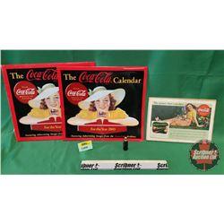 "Coca-Cola Collectors Combo: Mini-Bottle Coca-Cola Lighter; 2003 Calendar & ""The pause that refreshes"