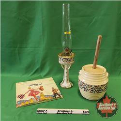 Nippon Coal Oil Lamp; Butter Churn Crock & Sound of Music Album