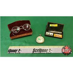 Men's Trio: Glasses in Case, Pocket Watch & Razor in Case
