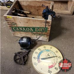 Canada Dry Crate w/Mini Vise, Pipe Wrenches, Electric Motor, John Deere Thermometer, Carbide Lights,