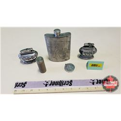 Silver Theme Collectors Combo: Coin Lighter, Coin Roll Light, Table Lighters (2), Memorial Flask