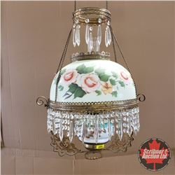 Hanging Ornate Oil Lamp : Floral & Crystal Design