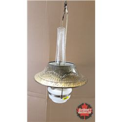 Hanging Oil Lamp : Aladdin Model B Burner w/Metal Shade & Milk Glass Base