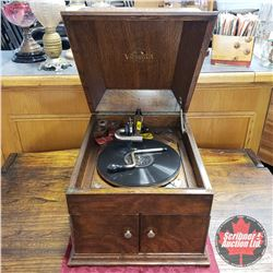 Victor Victrola Gramophone (Style VV-VVIII) c/w Record & Extra Needles S/N#62904P