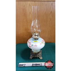 "Oil Lamp : Colored Leaf Motif, Metal Footed Base (Total Height 19"")"