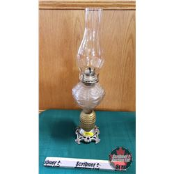 "Oil Lamp : Iridized Tank, Brass Ball & Glass w/Metal Footed Base (Total Height 21"")"