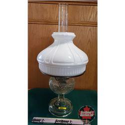 Oil Lamp: Washington Drape Clear Glass Base, Milk Glass Shade, Aladdin Model B Burner (Total Height