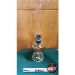 "Oil Lamp : Aladdin Model B Burner w/Washington Drape Clear Glass Base (Total Height 24"")"