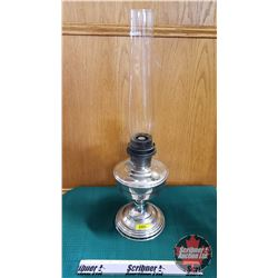 "Oil Lamp : Aladdin Model 12 Burner w/Nickel Plated Base (Total Height 23"")"