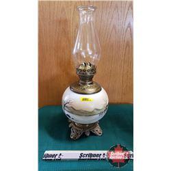 """Oil Lamp : Brass Insert & Winter Scene Ceramic Base (Total Height 19"""")"""