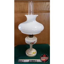 "Oil Lamp : Aladdin 23 Burner w/Flower Pedestal Base & Milk Glass Shade (Total Height 25"")"