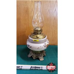 "Oil Lamp : Climax Burner w/Brass Insert, Brown Leaf Motif Metal Footed Base (Total Height 18"")"