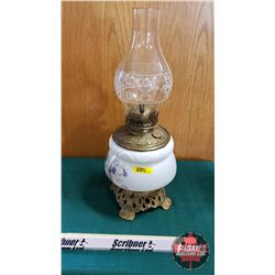 "Oil Lamp : Climax Burner w/Brass Insert, Milk Glass Cast Footed Base (Total Height 18"")"