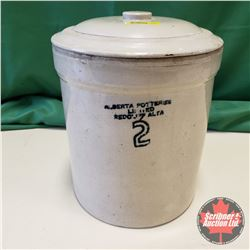 Alberta Potteries 2 Gallon Crock w/Lid (Warped Side)
