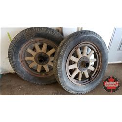 "Wooden Spoke Wheels & Tires (2) - 19"" Rims"