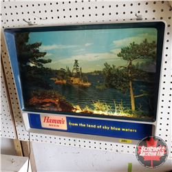 "Hamm's Beer Light Up Motion Advertising Sign - Boat at Lake Scene (18""H x 21""W x 4""D)"