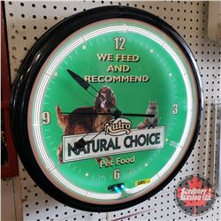 "Nutro Pet Food Neon Adverting Clock (19""dia x 5""D)"