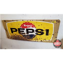 """Enjoy Pepsi"" Single Sided Enamel Advertising Sign (12""H x 29""W)"