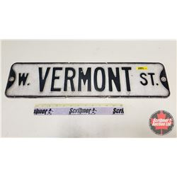 """W. Vermont St"" Street Sign - Authentic (6""H x 24""W)"