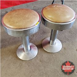 "Pair of Diner Stools - Tan Seat Cover (20""H)"