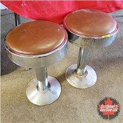 "Pair of Diner Stools - Brown Seat Cover (20""H)"
