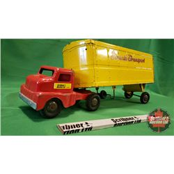 """Structo Metal Toy Truck & Trailer """"Structo Transport"""" (Note: Trailer Missing Axel) (7""""H x 21""""L x 5""""W"""