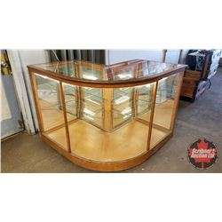 Lighted Curved 90 Degree Glass Showcase w/Mirror, Wood Frame & Castor Wheels - Made by T.L Arnett (3