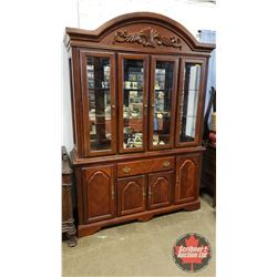 """Lighted China Cabinet w/Glass Shelves & Mirror (85""""H x 60""""L x 16""""D)"""