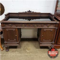 "Ornate Desk : Carved Design, 3 Drawers, 2 Door, Black Glass Surface (37""H x 49""W x 23""D)"