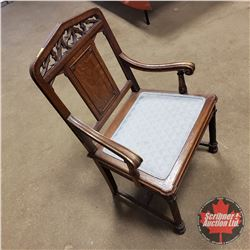 """Padded Wooden Arm Chair (39""""H x 23""""W x 19""""D)"""