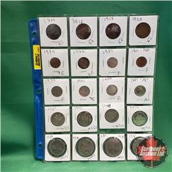 Canada Coins/Currency - Sheet of 20: One Cent (1888; 1913; 1916; 1920; 1934; 1942; 1951; 1967) & Fiv
