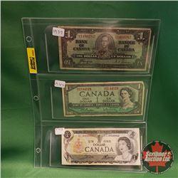 Canada One Dollar Bills - Sheet of 3 : 1937 Coyne/Towers & 1954 Beattie/Rasminsky & 1973 Crow/Bouey