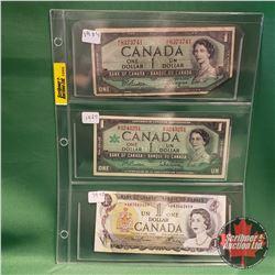 Canada One Dollar Bills - Sheet of 3 : 1954 Beattie/Coyne & 1967 Beattie Rasminsky & 1973 *Lawson/Bo