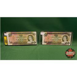 Canada Twenty Dollar Bills (2) : 1969 Beattie/Rasminsky ; 1969 Beattie/Rasminsky