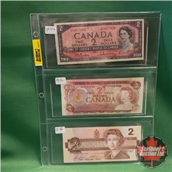 Canada Two Dollar Bills - Sheet of 3: 1954 Beattie/Rasminsky & 1974 Lawson/Bouey & 1986 Bonin/Thiess