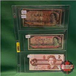 Canada Two Dollar Bills - Sheet of 3: 1954 DF Coyne/Towers & 1954 Bouey/Rasminsky & 1986 Bonin/Thies
