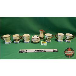 Torquay Pottery (8pcs): Coffee Cups & Cream and Sugar
