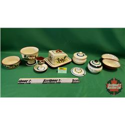 Torquay Pottery (8pcs): Covered Cheese Dish, Sugar, Egg Cup, Candy Dish, etc