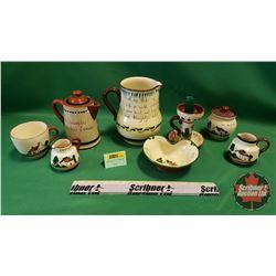 Torquay Pottery (8pcs): Coffee Pot, Candle Holder, Pitcher, etc