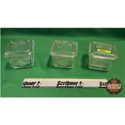 """Clear Glass Refrigerator Dishes (3) - 3""""H x 4""""W x 4""""D"""