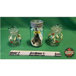 Jar w/Keys & Locks w/Floral & Wheat Motif Canisters (2)