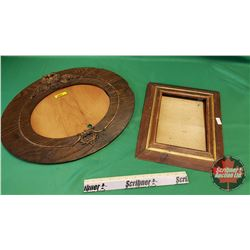 """Wooden Pictures Frames (2) : Oval (20""""H x 16""""W) & Rectangle (11""""H x 14""""W)"""