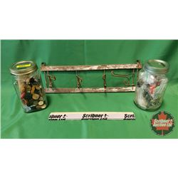 Jars w/Buttons (2)  & Fold Up Wire Hanger