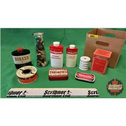 Box Lot: Confectioner Tins, Buttons & Insulator