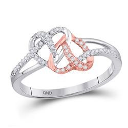 1/6 CTW Round Diamond Double Linked Heart Ring 10kt White Rose-tone Gold - REF-14T4K