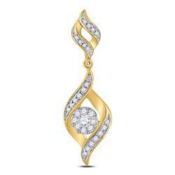 1/3 CTW Round Diamond Fashion Cluster Pendant 14kt Yellow Gold - REF-33X6T